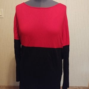 Chaps Red and Black Color Block Sweater Size 1X